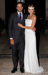 Tennisplayer Feliciano Lopez and Alba Carrillo during wedding of Feliciano Lopez and Alba Carrillo at Alcazar Toledo, in Toledo, on Friday 17 July, 2015