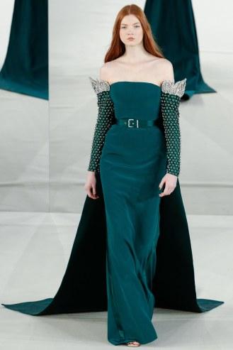 Alexis Mabille, vestido verde con mangas y cinturón